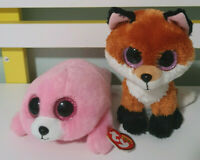 TY BEANIE BOOS TY SILK SLICK FOX IS 16CM  PIERE SEAL PINK 2017