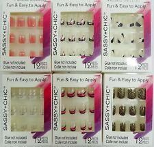 Sassy + Chic Fashion Glue-On Nails 12 Piece Set