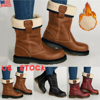 Women Warm Fur Lined Snow Boots Ladies Mid Calf Winter Casual Flat Booties Shoes