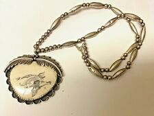 ANTIQUE   SCRIMSHAW   SILVER LARGE NECKLACE PENDANT