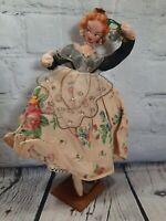 "1950's Klumpe Roldan Layna Style Cloth Doll 9"" Flamenco Dancer Wood Base Spain"