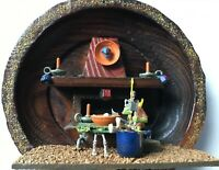Orc Kitchen Vintage Dungeons & Dragons Style 1980's Wooden Plate Diorama - Mint