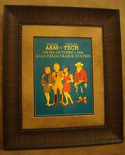 "VINTAGE TEXAS A&M COLLEGE FOOTBALL POSTER  FRAMED ""A&M VS TEXAS TECH"" OCT. 1966"