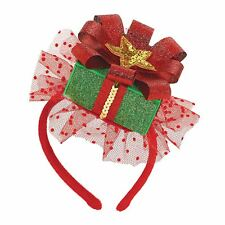 Deluxe Christmas Glitter Fascinator Cute Party Hat Headband Secret Santa Elf Box