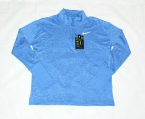 Nike running Women's Element Long Sleeve Shirt 1/2 Zip Training Top Blue size L
