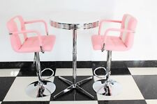 American 50s Diner Furniture Pink Bistro Claw  Set Table And 2 Stools With Arms