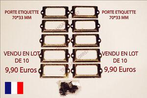 PORTE ETIQUETTE LOT DE  10   70*33 TIROIR CASIER MEUBLE METIER CLASSEUR AVEC VIS