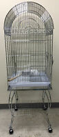 "Large 20 Inch Parrot Bird Cage Top Play With Stand Wheel 20x20x57""H CHROME-946"