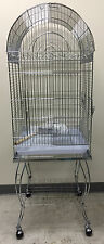 """Large 20 Inch CHROME Parrot Bird Cage Top Play With Stand Wheel 20x20x57""""H-946"""