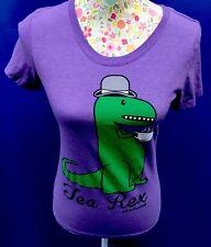 TEA REX PURPLE LADIES TShirt Tee Top DAVID & GOLIATH Bowler Hat T Rex Dinosaur