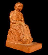Vieille dame au baton sculpture en terre-cuite signée Gugli Old Woman Terracotta