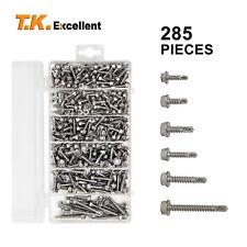Hex Washer Head Self Drilling Screws285pcs Stainless Steel410 Assortment Kit