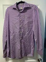 Men's Peter Millar Striped Long Sleeve Button Down Shirt Size Large Purple/White