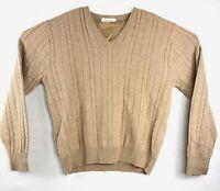 VTG Mens Lord Jeff Sweater Tall Fellow V Neck Tan Orlon Wool Size XL USA