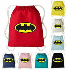 Batman Logo Cotton Drawstring PE Bag Kids Gym Kit Swimming School P.E Sports Bag