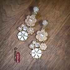 Boucles d`Oreilles Clips Goutte Fleur Mini Perle Nacre Retro Original Cadeau X7
