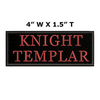 """Knight Templar Customizable Tag 4"""" W x 1.5"""" T Embroidered Iron or Sew-on Patch"""