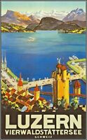 Switzerland Luzern 1932 Schweiz Vintage Poster Print Travel Lake Luzern