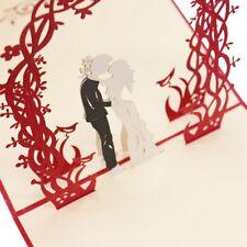 Romantic Lover 3D Pop Up Card Laser Cut Wedding Greeting Card Gift Card Supplies