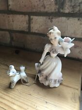 Beautiful vintage  Figurine/ Collectable lady and poodle Ornament/women With Dog