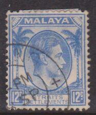 (K109-128) 1937 Malaya 12c blue KGVI (EO)