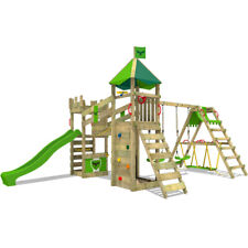 FATMOOSE Spielturm Kletterturm RiverRun Royal XXL mit Surfanbau Rutsche Garten