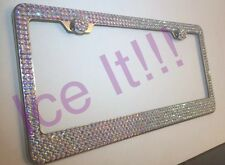 Made with SWAROVSKI AB IRIDESCENT CRYSTALS Bling license plate frame 6 rows SS20