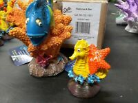 "2 Aquarium Ornaments Blue Fish & Starfish / Seahorse Polyresin ~2.25 - 4"" Decor"