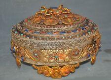 Tibet Silver filigree gilt inlay Turquoise coral lapis lazuli Phurpa Jewelry Box