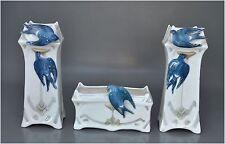 Jugendstil - 2 Vasen und Schale mit Schwalben-Dekor