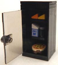 NEW LEGO BLACK FRIDGE kitchen food pizza milk refrigerator minifig minifigure