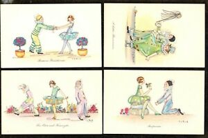 4 X 1925 C.E SHAND ART DECO ARTIST SIGNED POSTCARDS SUPERB