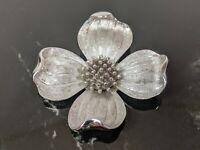 Lovely Vintage Silver Tone Dogwood flower Trifari Crown Brooch Jewellery Signed