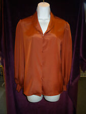 1980s Dusty Rose Bishop Sleeve Buttoned Down Blouse by Gloria Vanderbilt Size 8
