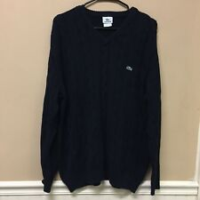 Lacoste Men's Cable Knit Pullover Long Sleeve Sweater Jumper Size 7 XL Black