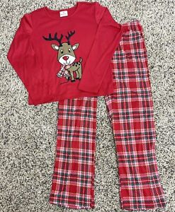 HANNA ANDERSSON youth SIZE 160 (US 12/14) l/s Christmas red reindeer PAJAMAS EUC