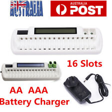 16 Slots Smart AA Battery Charger LCD Intellicharge for NiMH NiCd AAA Universal
