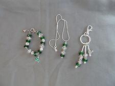 European green & crystal murano bead bracelet, key chain & necklace w/ shamrocks