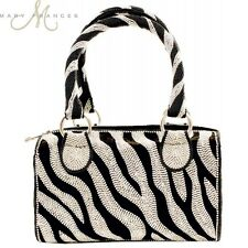 Mary Frances Glam Rock Zebra Black White Satchel Bead New Handbag Purse Bag New