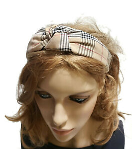 Designer Inspired Knot Check Plaid Black Knotted Wide Headband for Women Girls