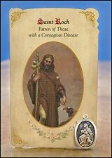 St Roch (Contagious Diseases) Healing Holy Card with Medal NEW SKU MC020
