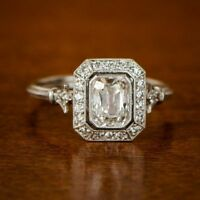 Real 14k Gold Vintage Style 2CT Emerald Cut Diamond Engagement Promise Ring