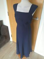 Ladies Dress Size 12 JACQUES VERT Navy Fit Flare Mother Of Bride Party Wedding