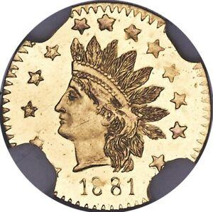 1881 GOLD 50C INDIAN ROUND   BG-1070 *R.5*   MS66⭐️DPL   *SINGLE FINEST KNOWN*