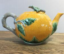 Pumpkin Tea Pot. Ceramic 9x5.5 Inches. Orange