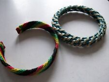 BLACK RED GREEN YELLOW FABRIC COVERED OPEN END BANGLE + TURQUOISE BANGLE **GC**