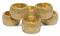 Handmade Beaded Home Decor Napkin Rings Golden Napkin Ring Holders 6 Pcs Set