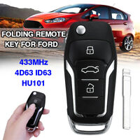 Upgraded Flip Remote Key Fob 433MHz ID63 4D63 Chip HU101 For Ford Mondeo