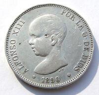 5 PTAS PESETAS 1890 900 SILBER SILVER PLATA MÜNZE SPANIEN ALFONSO XIII POR LA 10