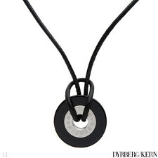 DYRBERG/KERN of DENMARK! TRISTIAN Collection Necklace W/ Onyx & black Leather